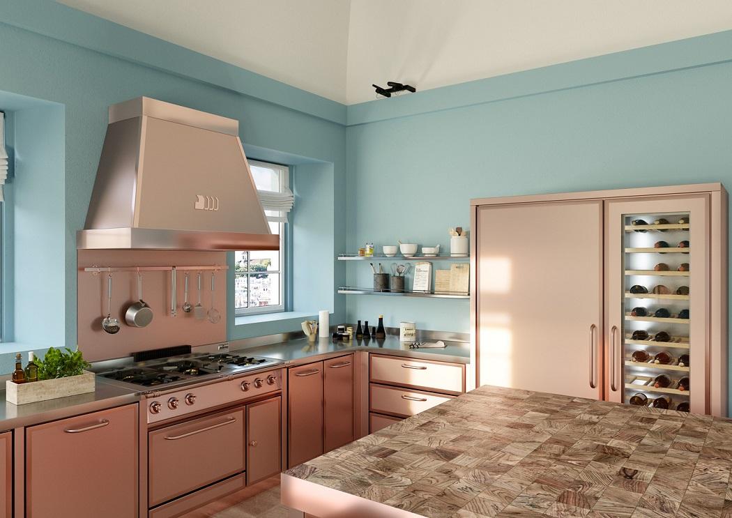 תכלת על הקירות ומטבח נירוסטה בגוון פליז מוזהב, חדשנות עיצובית וחומרית, DeManincor-ניגא שף פור הום