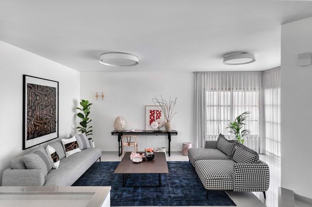 סלון מודרני אלגנטי, תכנון ועיצוב ליבנת כהן מרין, צילום: עודד סמדר